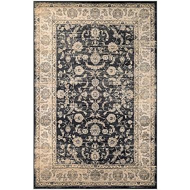 Astoria Grand Cotswolds Floral Emblem Black/Oatmeal Area Rug; 9'2'' x 12'5''