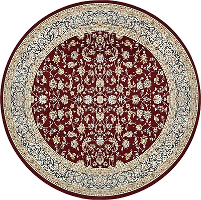Astoria Grand Jackson Burgundy Area Rug; Round 10'
