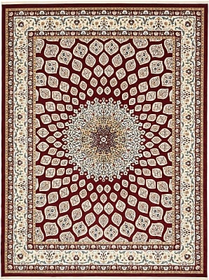 Astoria Grand Jackson Burgundy Area Rug; Rectangle 3' x 5'