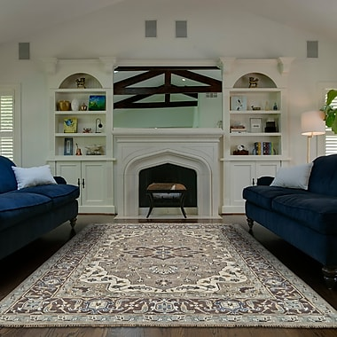 Astoria Grand Flaxberry Hand-Knotted Ivory/Walnut Area Rug; 9'6'' x 13'6''