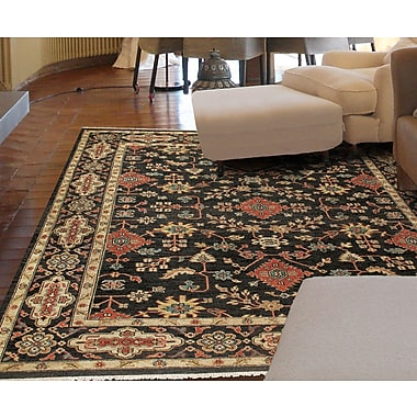 Astoria Grand Fitzroy Hand-Knotted Black Area Rug