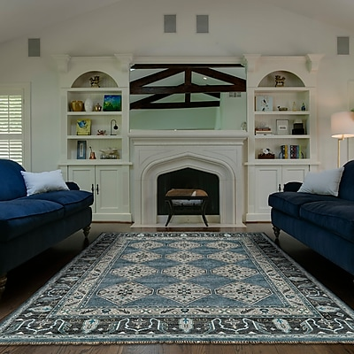 Astoria Grand Flaxberry Hand-Knotted Dark Blue/Gray Area Rug; Rectangle 8'6'' x 11'6''