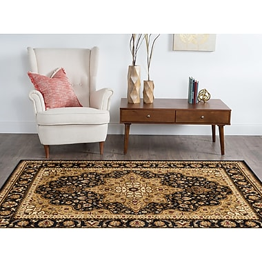 Astoria Grand Sacha Black/Beige Area Rug; Rectangle 7'6'' x 9'10''