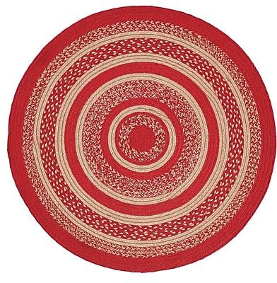 August Grove Gertrude Red/Beige Area Rug; Round 3'