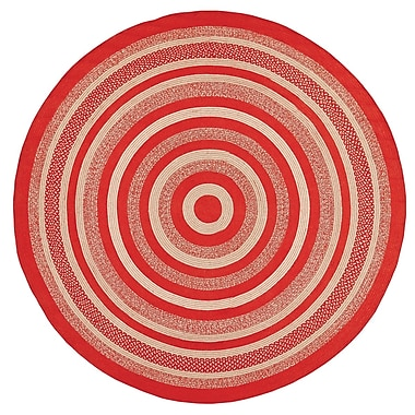 August Grove Gertrude Red/Beige Area Rug; Round 8'