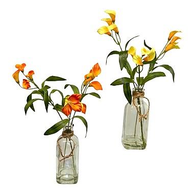 August Grove Faux Calla Lilies Floral Arrangement in Glass Jars (Set of 2); Orange/Yellow