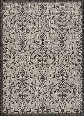 Astoria Grand Bedervale Ivory/Charcoal Indoor/Outdoor Area Rug; Rectangle 5'3'' x 7'3''
