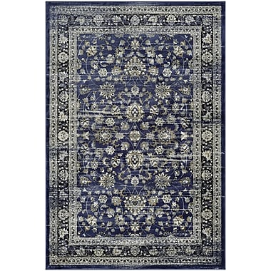 Astoria Grand Larimore Floral Navy/Cream Area Rug; Runner 2'7'' x 7'10''