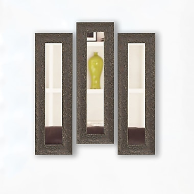 Astoria Grand Handcrafted Brown Panel Mirror (Set of 3); 22'' H x 10'' W x 1.5'' D