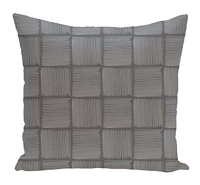 Bay Isle Home Brisa Basketweave Geometric Outdoor Throw Pillow; Gray