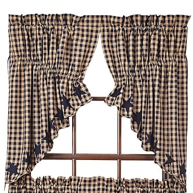 August Grove Diana Scalloped Prairie Swag 36'' Curtain Valance (Set of 2); Navy