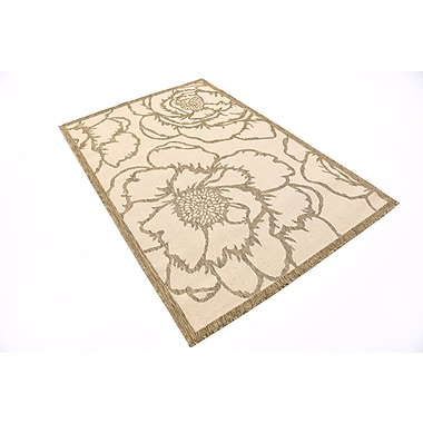 August Grove Souliere Beige Outdoor Area Rug; Rectangle 4' x 6'