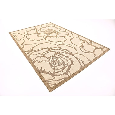 August Grove Souliere Beige Outdoor Area Rug; Rectangle 6' x 9'