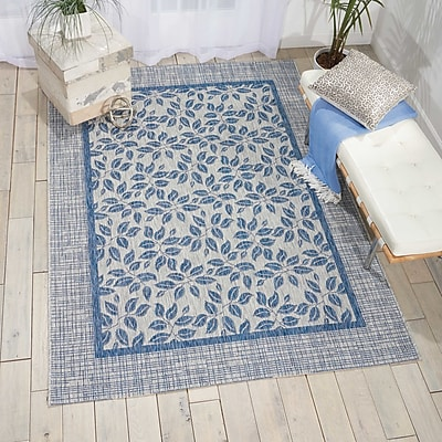 Bay Isle Home Key Haven Ivory/Blue Indoor/Outdoor Area Rug; 5'3'' x 7'3''
