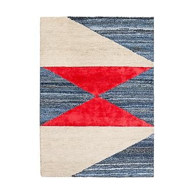Breakwater Bay Monadnock Hand-Tufted Blue/Red/Beige Area Rug; 5' x 8'