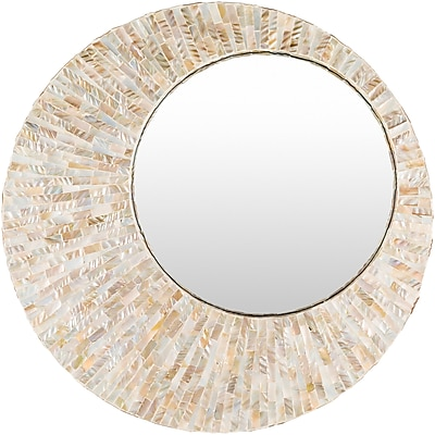 Bay Isle Home Mansfield Round Pearl Wall Mirror