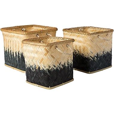 Bay Isle Home 3 Piece Decorative Basket Set; Black / Butter
