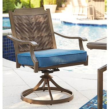 Bay Isle Home Goufes Swivel Patio Dining Chair w/ Cushion (Set of 2)