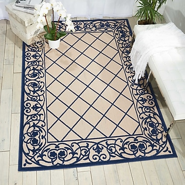 Bay Isle Home Seaside Navy/Beige Indoor/Outdoor Area Rug; 5'3'' x 7'5''