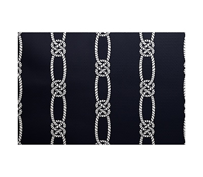 Breakwater Bay Hancock Navy Blue Indoor/Outdoor Area Rug; 3' x 5'