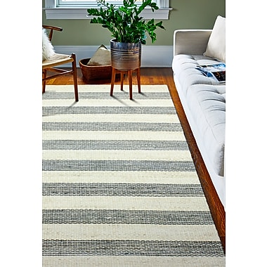 Breakwater Bay Bluffton Hand-Knotted Cream/Grey Area Rug; Rectangle 7'6'' x 9'6''