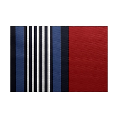 Breakwater Bay Bartow Red/Black/Blue Indoor/Outdoor Area Rug; 2' x 3'