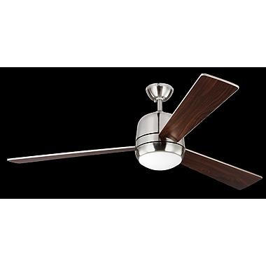 Brayden Studio 60'' Bakos 3 Blade Fan w/ Remote; Brushed Steel