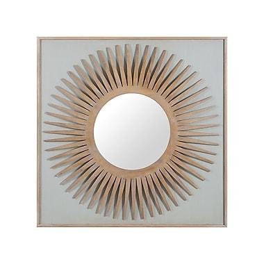 Brayden Studio Mahogany Wood Starburst Accent Wall Mirror