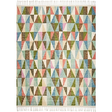 Brayden Studio Lohan Hand-Knotted Green/Blue Area Rug; 8' x 10'
