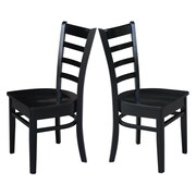 Breakwater Bay Bloomfield Solid Wood Dining Chair (Set of 2); Black by