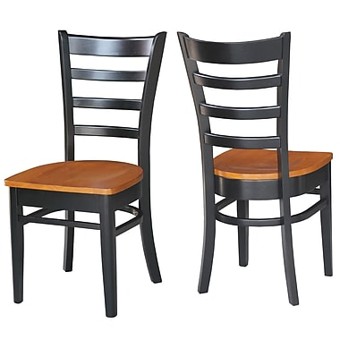 Breakwater Bay Bloomfield Solid Wood Dining Chair (Set of 2); Black/Cherry