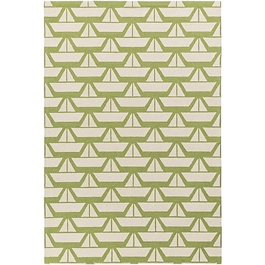 Breakwater Bay Huntington Hand-Hooked Green/Neutral Area Rug; Rectangle 2' x 3'
