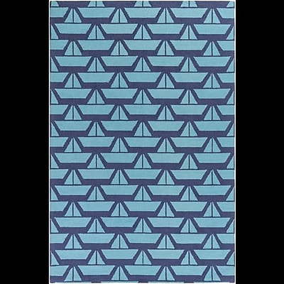 Breakwater Bay Huntington Hand-Hooked Blue Area Rug; Rectangle 5' x 7'6''