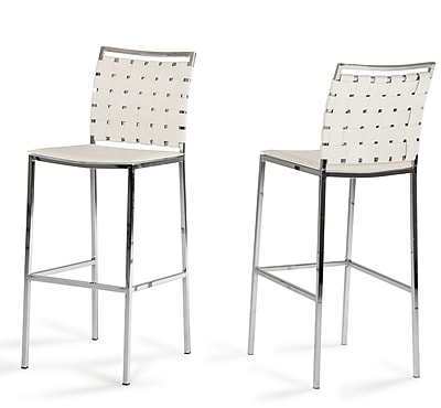 Brayden Studio Burkett 30'' Bar Stool (Set of 2); White