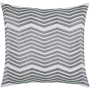Brayden Studio Cardington Thick Chevron Stripped Cotton Throw Pillow; Silver