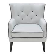 Brayden Studio Castor Accent Wing back Chair; Light Gray/Charcoal