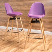 Brayden Studio Chloris 30'' Bar Stool (Set of 2); Purple