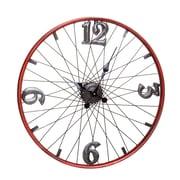 Brayden Studio Red Bicycle Wheel Metal 24'' Wall Clock