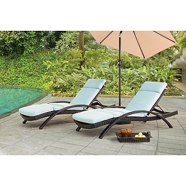 Brayden Studio Charterhouse Chaise Lounge w/ Cushion (Set of 2); Canvas Spa