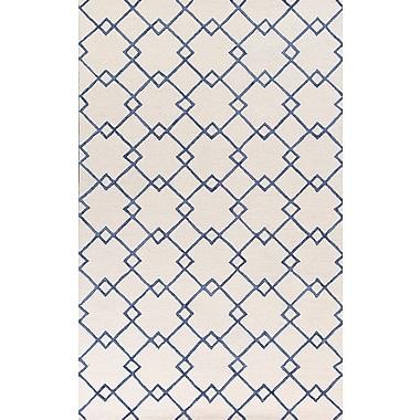 Brayden Studio Frankie Hand-Tufted Ivory/Blue Area Rug; Round 5'6''