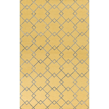 Brayden Studio Frankie Hand-Tufted Gold/Gray Area Rug; Rectangle 5' x 7'6''