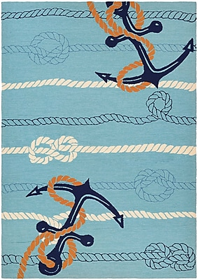 Breakwater Bay Seaside Anchor Bend Hand-Knotted Ocean Blue Indoor/Outdoor Area Rug