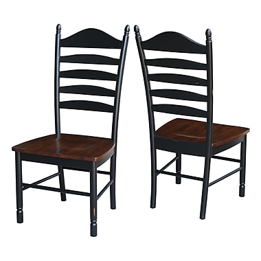 Breakwater Bay Hallandale Ladderback Solid Wood Dining Chair (Set of 2); Aged Ebony
