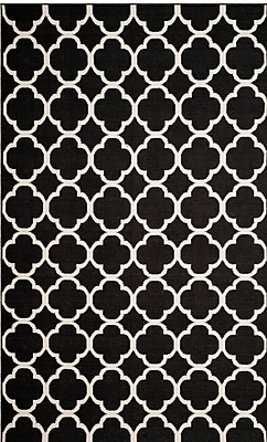 Breakwater Bay Desota Hand-Woven Black/Ivory Area Rug; Square 6'