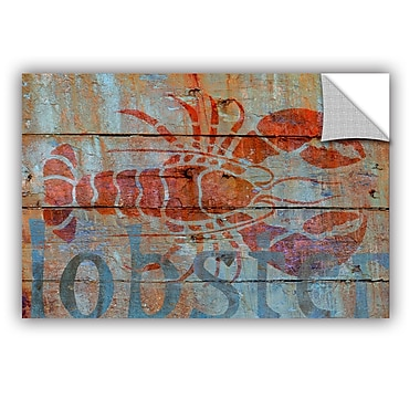 Breakwater Bay Lobster on Wood Removable Wall Decal; 24'' H x 36'' W x 0.1'' D