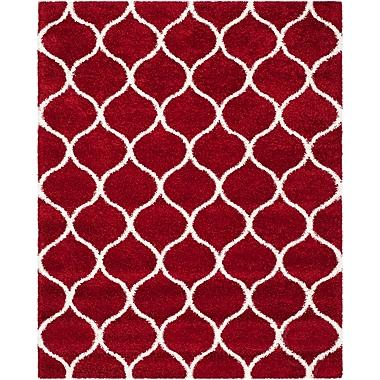 Brayden Studio Humberto Shag Red/White Area Rug; Rectangle 8' x 10'
