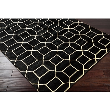 Brayden Studio Oliviana Hand-Knotted Black/Gold Area Rug; 8' x 10'