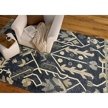 Charlton Home Dartmoor Hand-Tufted Denim Area Rug; 2' x 3'