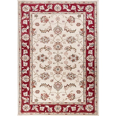 Charlton Home Arnot Ivory/Red Area Rug; Rectangle 3'3'' x 5'3''