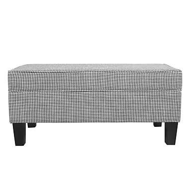 Charlton Home Patterson Ebony Houndstooth Upholstered Storage Bench w/ Piping
